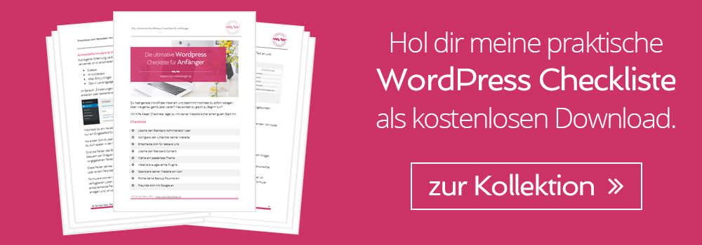 Hol dir meine praktische WordPress Checkliste als kostenlosen Download. | miss-webdesign.at