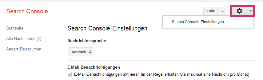 Google Search Console - Benachrichtigungen | www.miss-webdesign.at