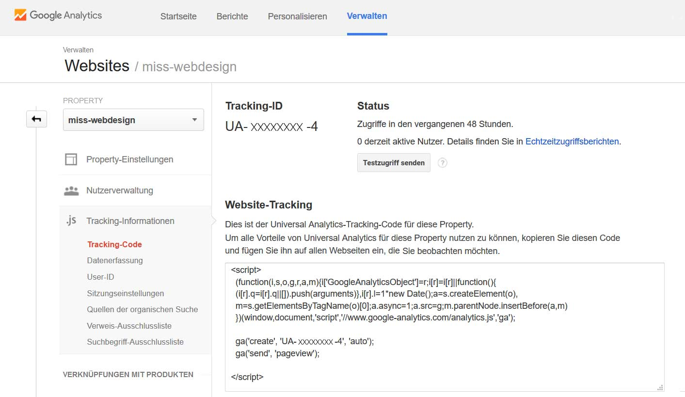 Google Analytics Tracking Code | miss-webdesign.at