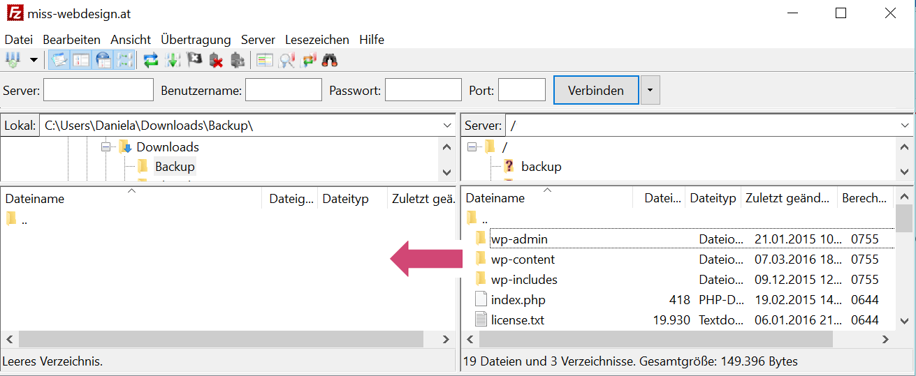 Wodpress Dateien vom Webserver sichern mit Filezilla | miss-webdesign.at