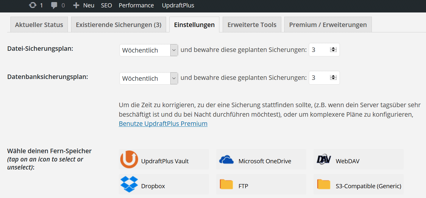 automatische Backups mit Plugin UpdraftPlus | miss-webdesign.at