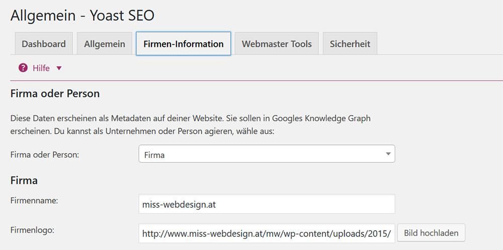 Yoast SEO Firmeninformationen für Google Knowledge Graph | miss-webdesign.at