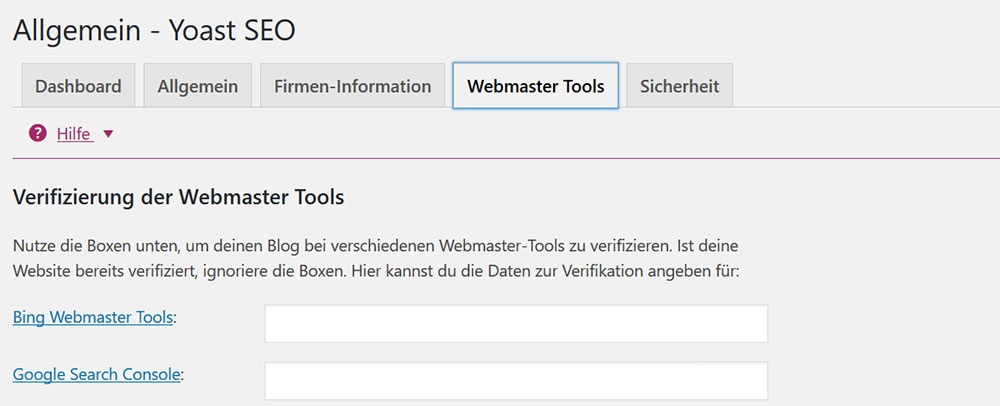 Yoast SEO Verbindung mit Webmastertools | miss-webdesign.at