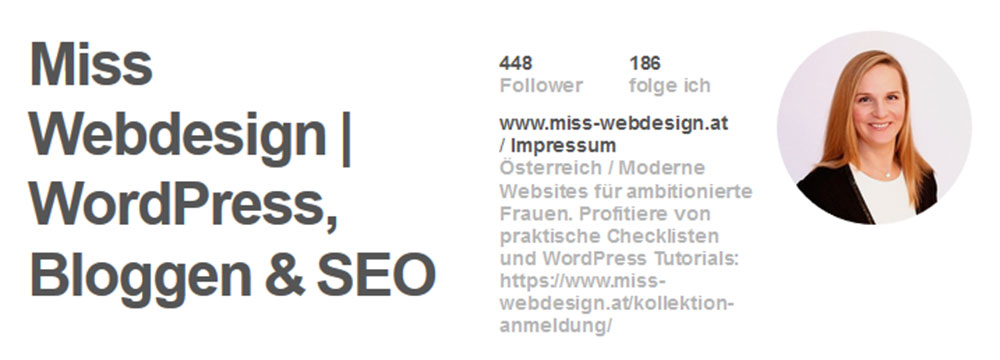 Das Pinterest Profil von miss-webdesign.at