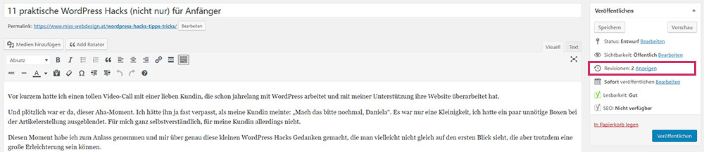 WordPress Hacks - Revisionen wiederherstellen | miss-webdesign.at